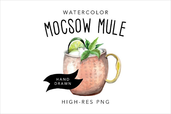 Watercolor Moscow Mule Drawing