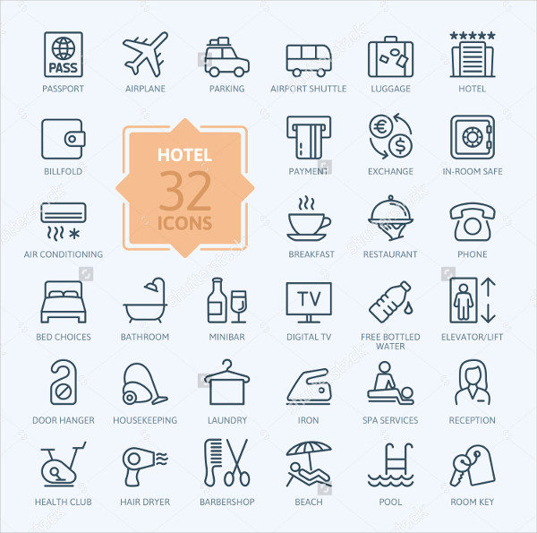 32 Outline Web Icon Set of Hotel Services