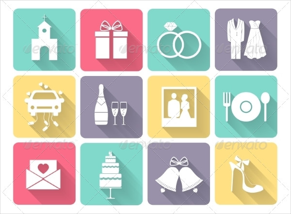 Wedding and Love Celebration Icons Set