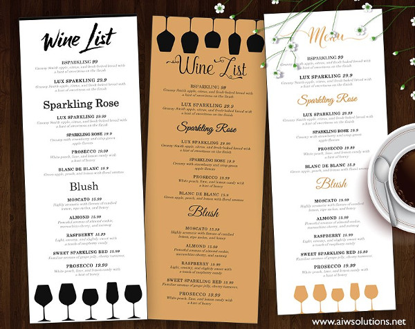 Custom Wine List Template