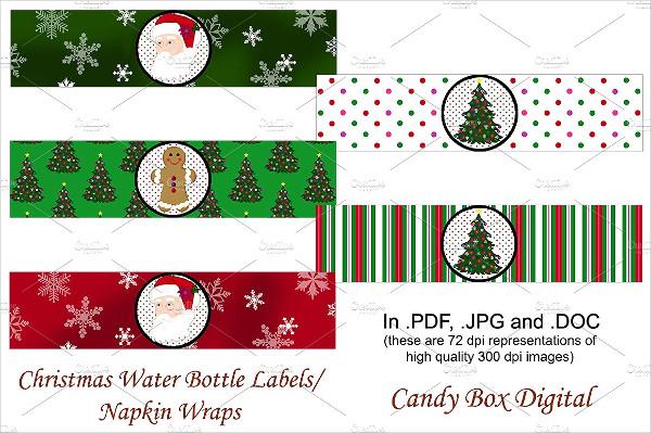 Wonderful Christmas Water Labels