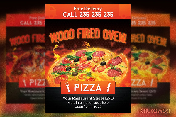 Wood Oven Pizza PSD Flyers Template