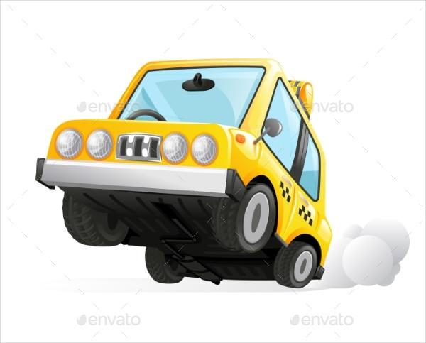 Yellow Cab Taxi Car Icon