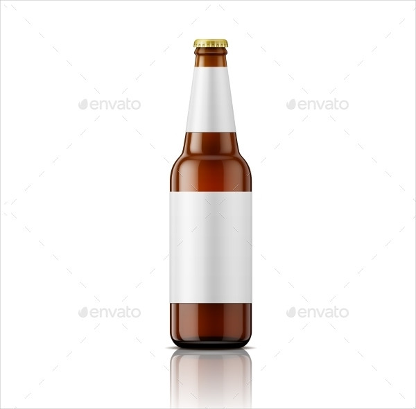 Brown Beer Bottle with Labels Template