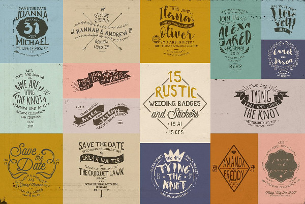 15 Rustic Wedding Badge & Stickers