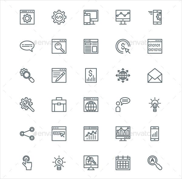 220 SEO and Digital Marketing Line Icons