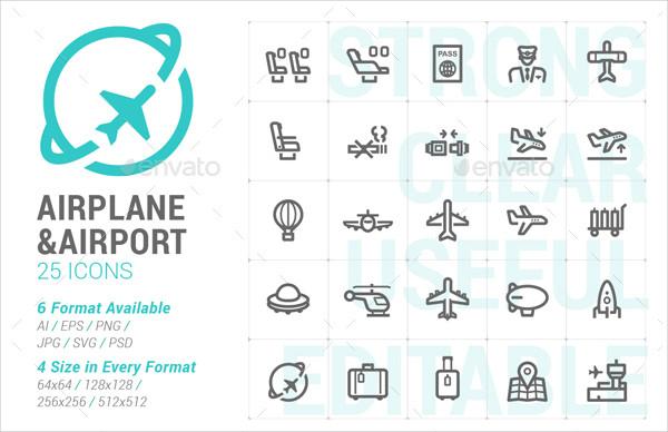 25 Airplane & Airport Mini Icon