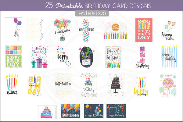 25 Printable Birthday Cards Design