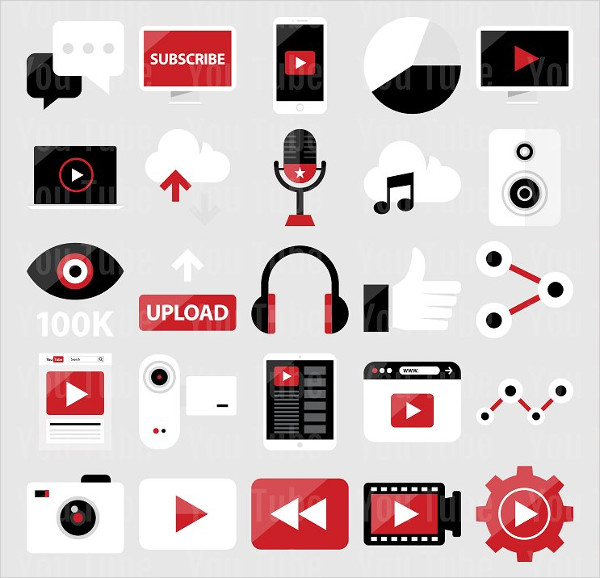 25 Flat YouTube Icons