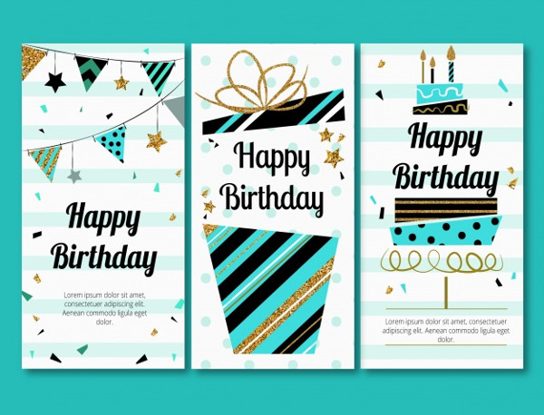 3 Birthday Greeting Cards in Retro Style Free Download