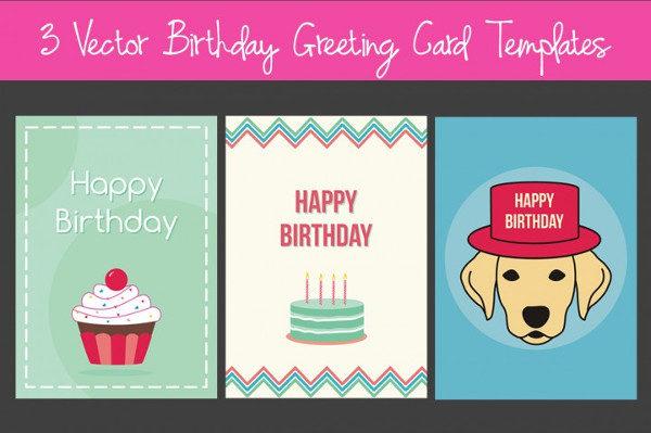 3 Vector Birthday Greeting Card Templates