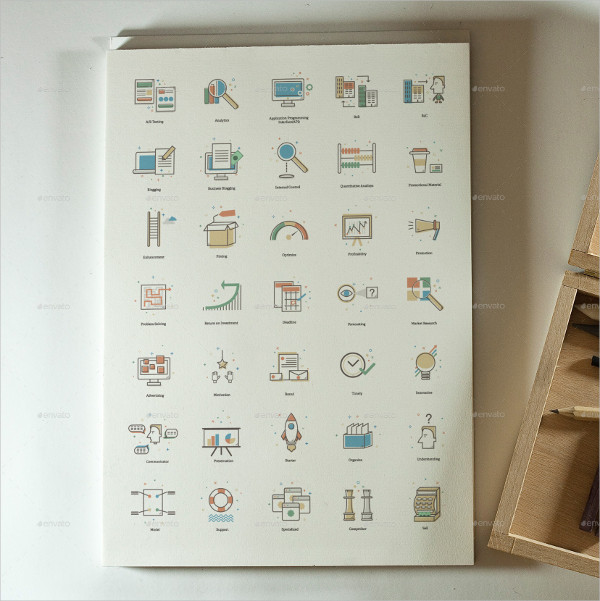 35 Line and Flat Marketing Icons