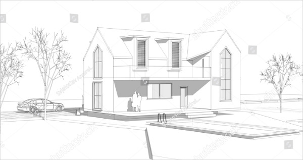 3D Illustration of House Sketch