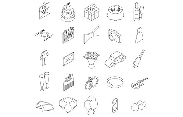 Wedding Icon Set in Isometric 3D Style