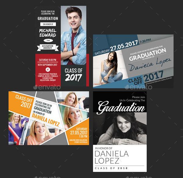 4 In 1 Graduation Post Card Templates Bundle