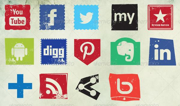 48 Grungy Social Media Icons