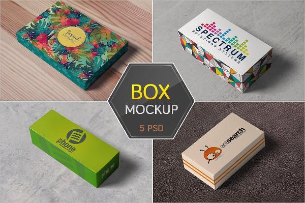 5 Realistic Box Packaging Mockups