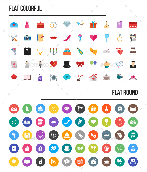50 Unique Icon Pack Wedding in Different Styles