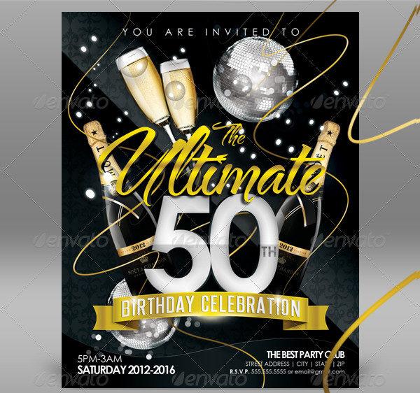 50th Birthday Celebration Invitation Templates