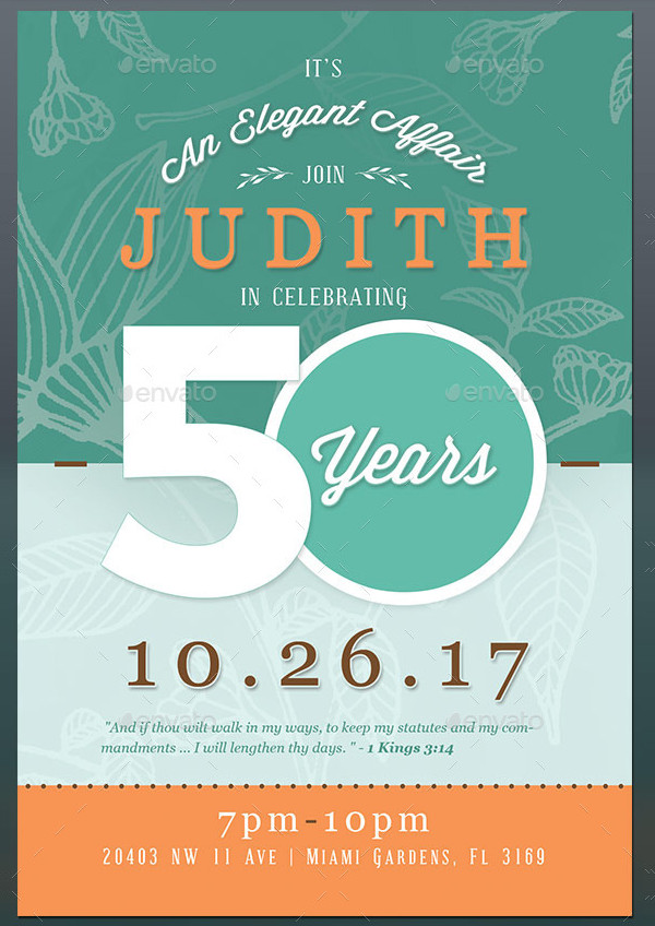 50th Birthday Invite Flyer Template