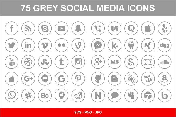 75 Gray Social Media Icons