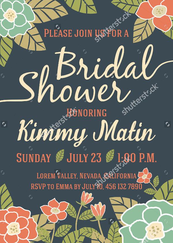 Vintage Floral Design Bridal Shower Invitation