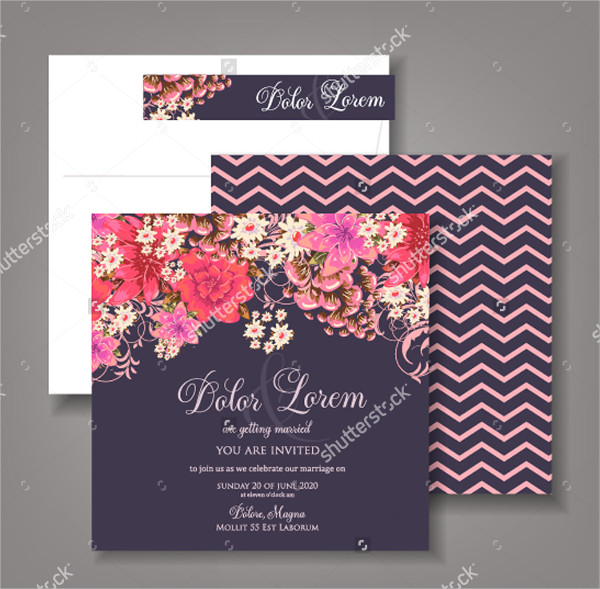 Abstract Wedding Invitations with Floral Background