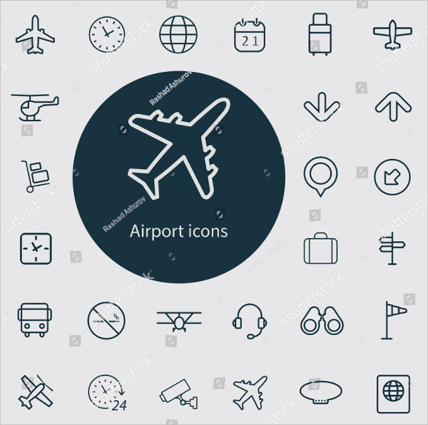 Airport Icons Vector Set