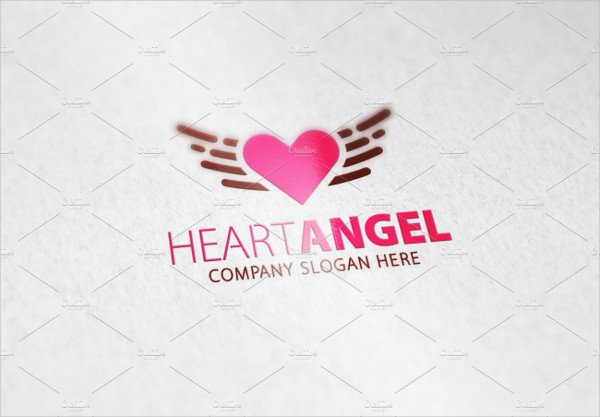 Heart Angel Logo Template