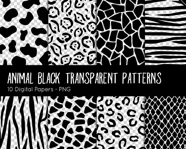 Animal Black Transparent Patterns
