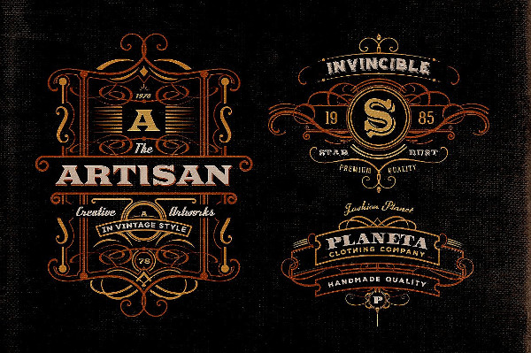 Art Deco Style Badge Logos