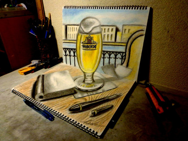 Awesome 3D Drawing of Beer Cafe