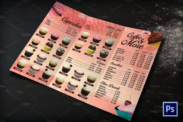 Bakery Cafe Menu Tri Fold Brochure
