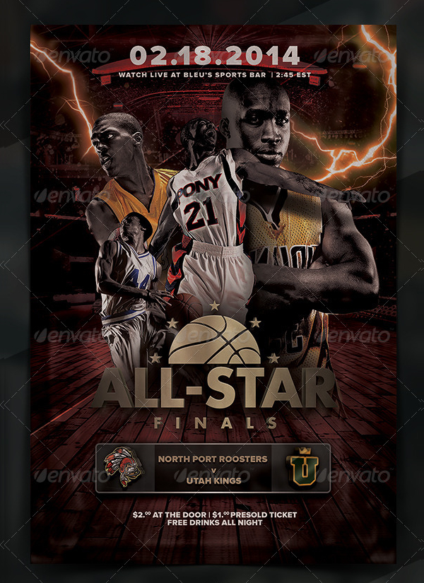 Clean Basketball Championship Poster Template