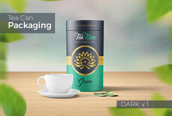 Beautiful Tea Can Packaging & Label Template