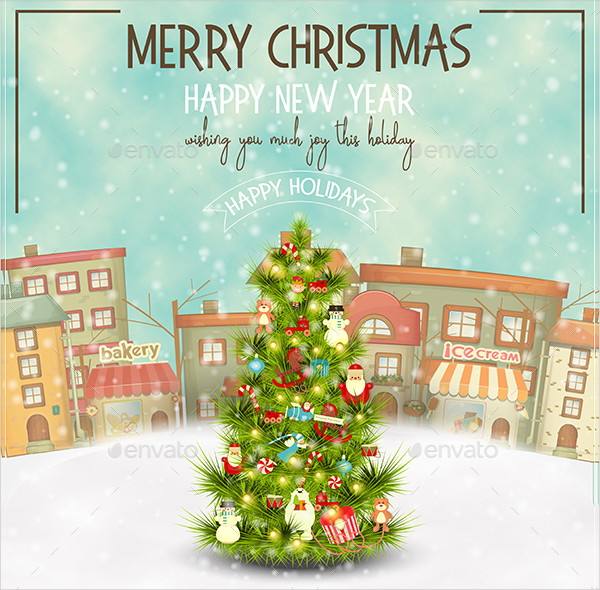 Beautifully Decorated Christmas Tree Greeting Card