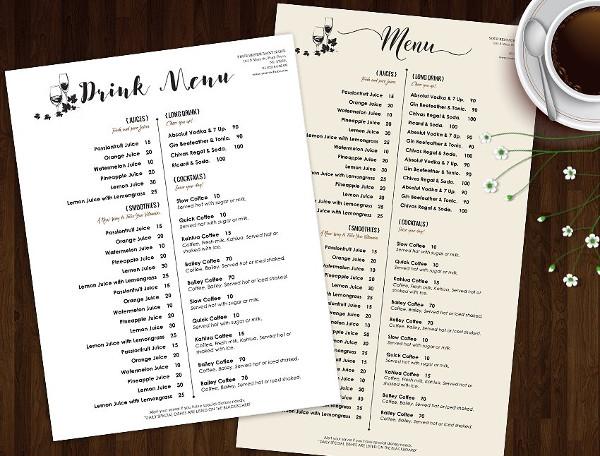 Best Drink Menu Template Design