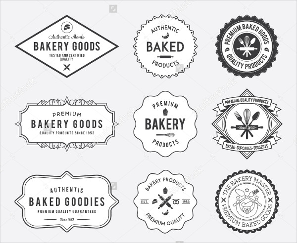 Black Classic Bakery Badges on White Background