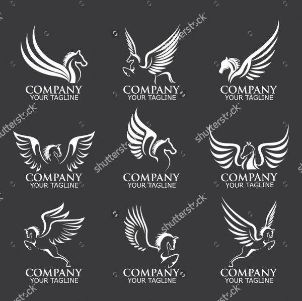 Set of Pegasus Logo Templates