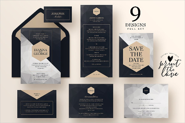 Modern Wedding Invitations Suite