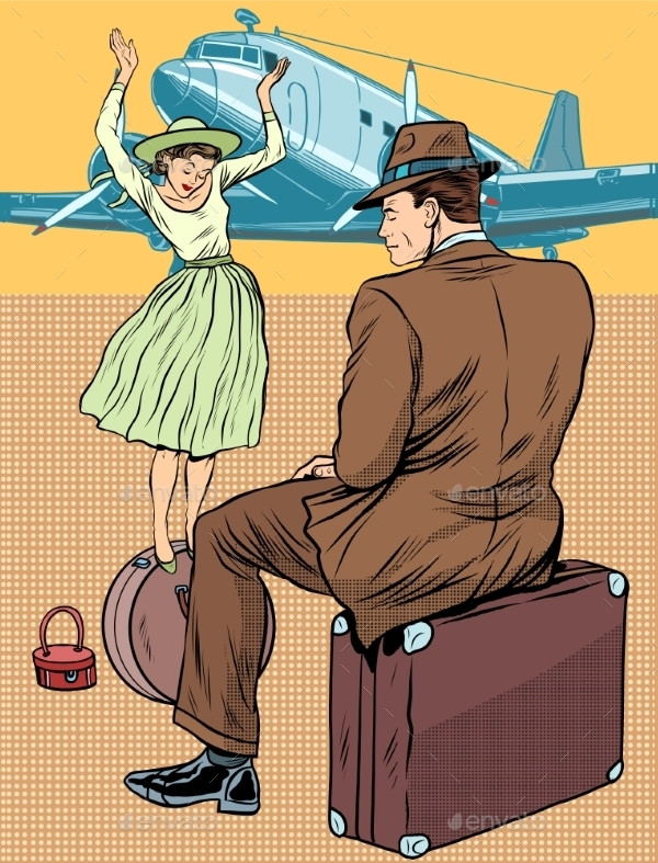 Passengers At The Airport Illustration