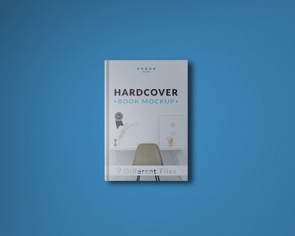 Book Cover on Blue Background Mock-Up Free PSD