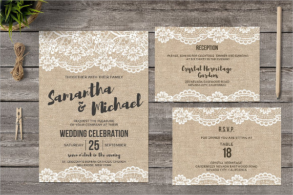Incredible Burlap and Lace Wedding Invitations
