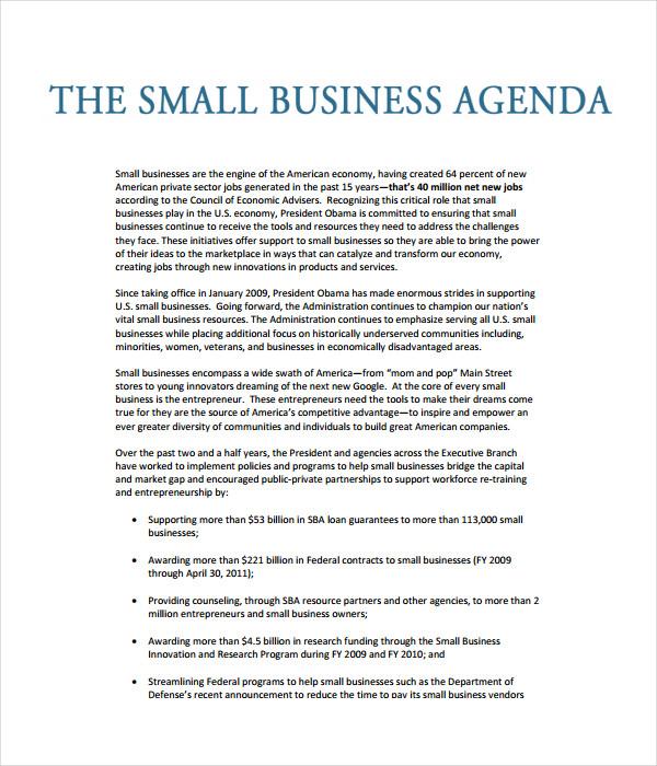 Business Agenda Templates