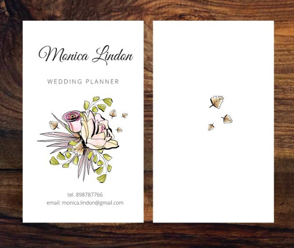 Business Card of Wedding Planner Free Vector