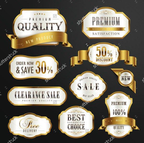 Premium Golden Labels Design Set