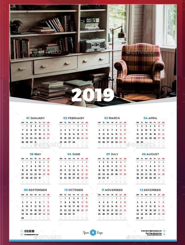 Calendar Poster 2019 Template