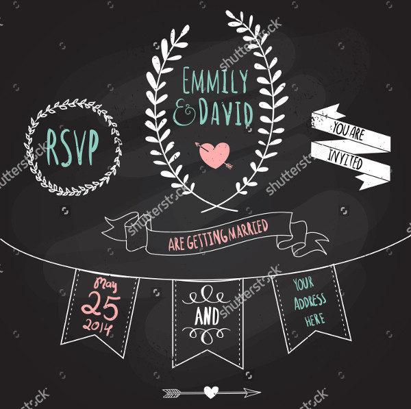Wedding Invitation in Chalkboard Style Vector
