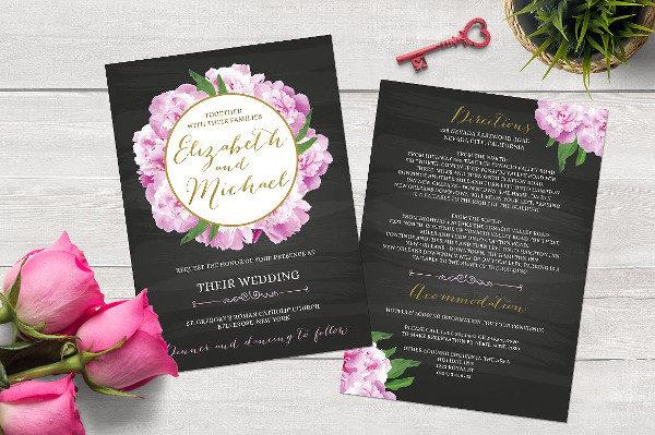 Chalkboard Peony Wedding Invitation Template