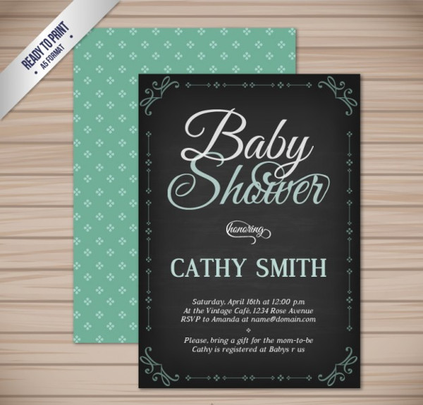 Free Chalkboard Baby Shower Invitation Template